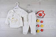 """Крестильный детский костюм """"Зайка"""". Велюр. 0-3 месяцев. Кремовый. Оптом."""