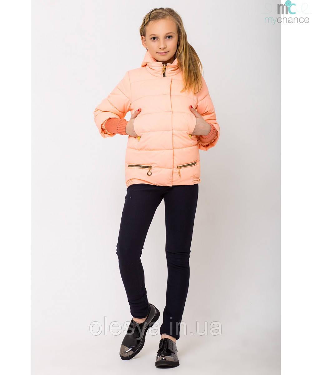 Модная весенняя курточка на девочку Юля с отстежным довязом на рукаве размеры 128, 158