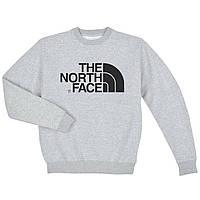 Свитшот The North Face серый с черным логотипом,унисекс (мужской,женский,детский)