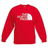 Свитшот The North Face красный с белым логотипом,унисекс (мужской,женский,детский)