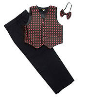Детский нарядный костюм  р. 2-6 лет (брюки, жилет, бабочка)