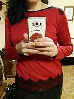 Красная кофточка с ажурными вставками, S,M,L р-ры, 260/230 (цена за 1 шт. + 30 гр.)