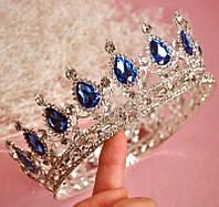 Круглая корона в серебре с синими камнями, диадема, тиара, высота 5,5 см.