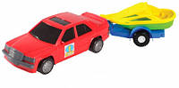 Игрушечная машинка, авто-мерс красный с прицепом и лодкой, Wader (39003-6)