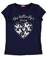 Футболка для девочки LC Waikiki синего цвета с сердцем на груди
