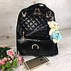 Рюкзак женский кожзам Sweet Bear стеганый сумка Черный, фото 2