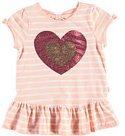 Футболка для девочки LC Waikiki розового цвета в полоску с сердцем на груди