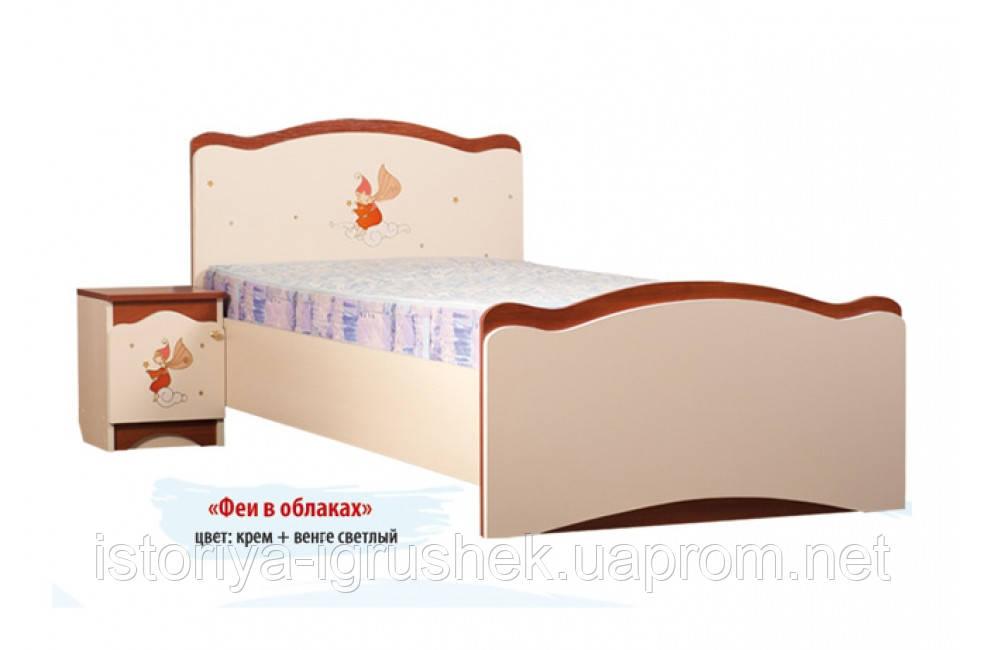 Кровать «Феи в облаках» 90x190,без ящиков, крем + яблоня ш
