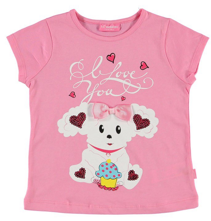 Футболка для девочки LC Waikiki розового цвета с овечкой и надписью I Love You
