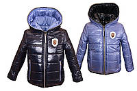 Демисезонная двухсторонняя куртка от 2 до 10 лет 34, темно синяя с голубым