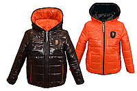 Демисезонная двухсторонняя куртка от 2 до 10 лет 32, черная с оранжевым