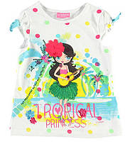 Футболка для девочки LC Waikiki белого цвета с тропической принцессой на груди