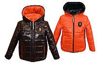 Демисезонная двухсторонняя куртка от 2 до 10 лет 36, черная с оранжевым