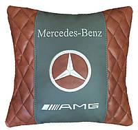 Подушка автомобильная с логотипом стеганная Mercedes