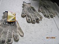 Перчатки рабочие (белые с точкой) комплект 3 пары FORA