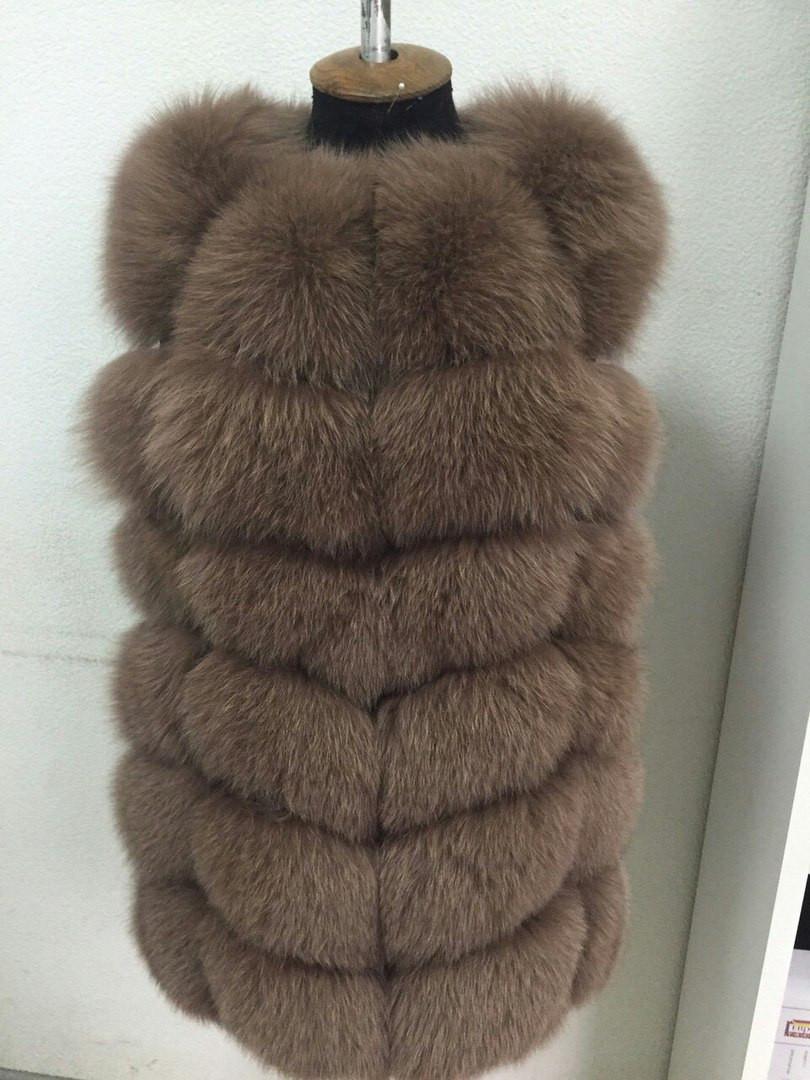 Женский жилет из натурального меха финского песца (063)