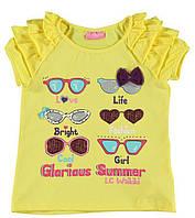Футболка для девочки LC Waikiki желтого цвета с очками на груди