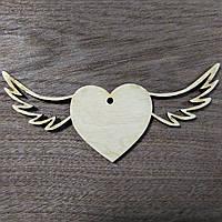Сердечко с крыльями заготовка деревянная 12см *5см