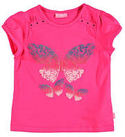 Футболка для девочки LC Waikiki малинового цвета с бабочкой на груди