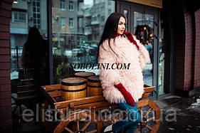 Полушубок из меха ламы в наличии в шоу руме г.Харькова, цвет нежно-розовый, размер 44 в наличии