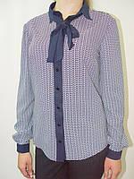 Блуза из крепа (с галстуком), бело-синий