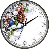 """Настенные часы 300Х300Х45мм """"Новый Год"""" [Пластик, Под стеклом]"""