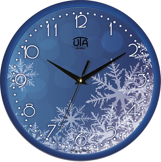 "Настенные часы 300Х300Х45мм ""Зимний узор"" [Пластик, Под стеклом]"