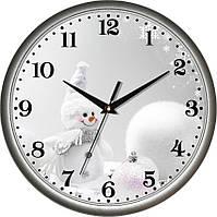 """Настенные часы в детскую 300Х300Х45мм """"Снеговик"""" [Пластик, Под стеклом]"""