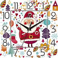 """Настенные часы в детскую 300Х300Х16мм """"С Новым Годом!"""" [МДФ, Открытые]"""