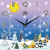 """Настенные часы 300Х300Х16мм """"Зимняя сказка"""" [МДФ, Открытые]"""