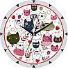 """Детские настенные часы 240Х240Х30мм """"Все коты здесь"""" [МДФ, Открытые]"""