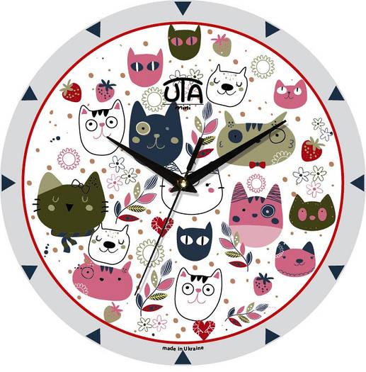 "Настенные часы в детскую 240Х240Х30мм ""Все коты здесь"" [МДФ, Открытые]"