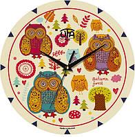 """Настенные часы в детскую 240Х240Х30мм """"Совы"""" [МДФ, Открытые]"""