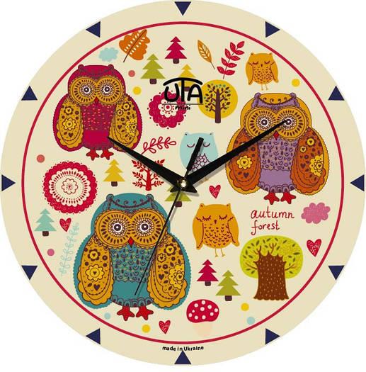 """Часы настенные для детей 240Х240Х30мм """"Совы"""" [МДФ, Открытые]"""
