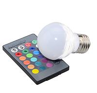 LM736 Лампа Lemanso св-ая E27 RGB 3W 210LM с пультом 85-265V (48*65mm)