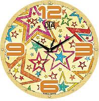 """Настенные часы в детскую 240Х240Х30мм """"Звезды"""" [МДФ, Открытые]"""