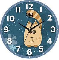 """Настенные часы в детскую 240Х240Х30мм """"Котик"""" [МДФ, Открытые]"""