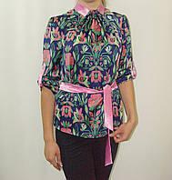 Блуза шелковая стойка со складами, украинский орнамент на синем