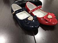 Детские туфли лаковые с бантиком для девочек Linshi оптом Размеры 31-36
