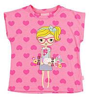 Футболка для девочки LC Waikiki розового цвета в сердце с девочкой на груди 8-9(рост 128-134)