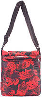 Удобная женская сумка -планшет из болоньи POOLPARTY pool-59-red-leaves красный