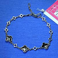Серебряный браслет с эмалью Клевер, регулируемый 5021