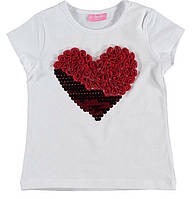 Футболка для девочки LC Waikiki белого цвета с красным сердцем на груди