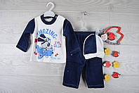 """Костюмчик детский """"Летчик"""". Велюр. 6-9 месяцев. Темно-синий. Оптом."""