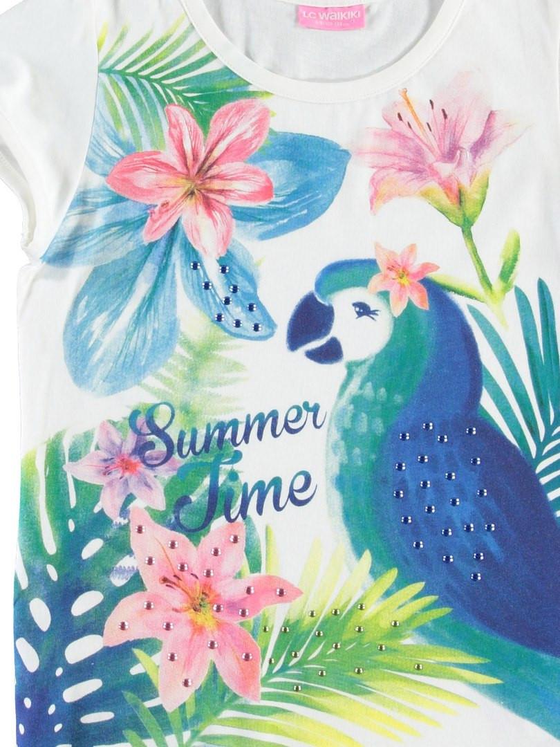 Футболка для девочки LC Waikiki белого цвета с надписью Summer Time