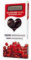Черный  шоколад Torras c клюквой  без сахара  , 150 гр