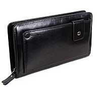 Солидный мужской кожаный клатч-портмоне черный