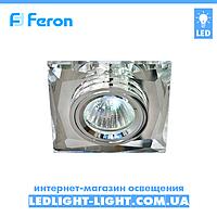 Врезной точечный светильник Feron 8150-2 стекло, прозрачный хром
