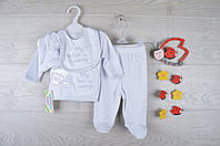 """Крестильный детский костюм """"My love mommy"""". Трикотаж. 0-3-6 месяцев. Белый. Оптом."""