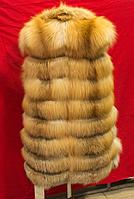 Женский натуральный Меховой жилет из Лисы 90 см фото в Живую
